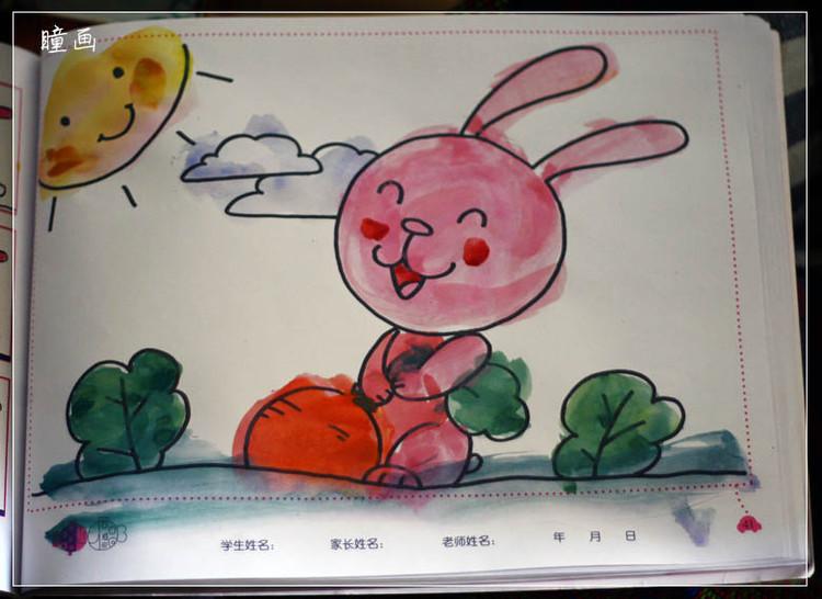小兔子拔萝卜简笔画