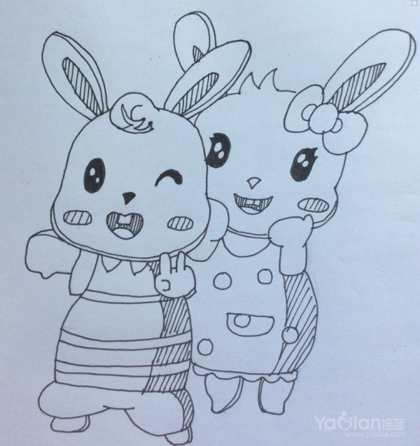 手绘萌兔子_宠物兔子怎么养|宠物兔子用品-兔子吧后