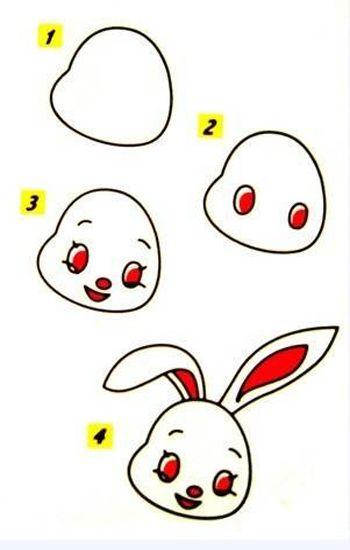 卡通兔子简笔画